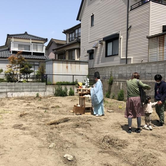 地鎮祭と土留め工事
